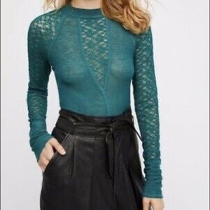 Intimately Free People Teal Lace Blouse